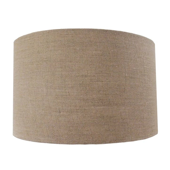 Linen Cylinder Drum Shade - 30cm; Natural