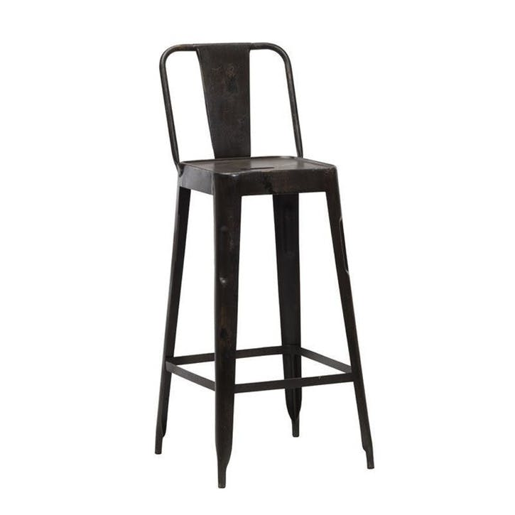 Chari Bar Chair; Distressed Black