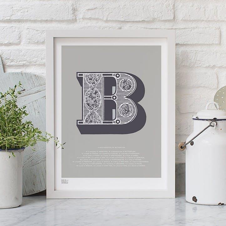 Illustrated Letter B Screen Print, 30cm x 40cm, Putty