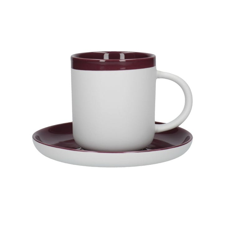 Barcelona Espresso Cup and Saucer, Plum