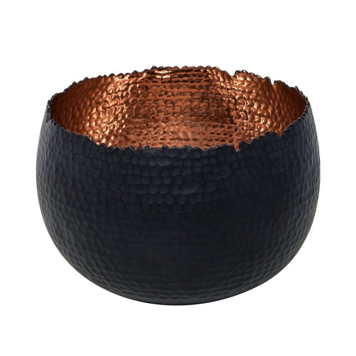 Hammered, Bowl Planter, 19cm, Black/Copper