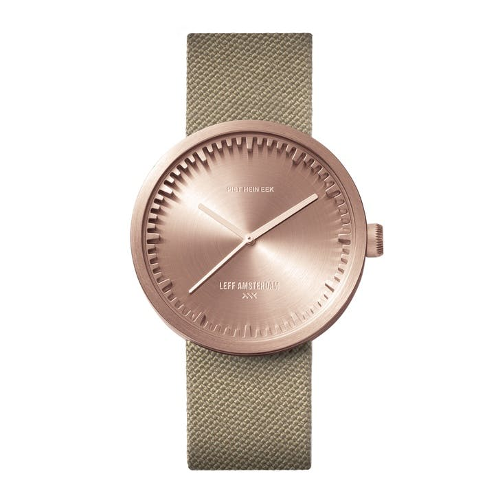 Tube Watch D38, Rose Gold with Sand Strap