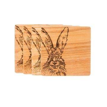 Hare Veneer Coaster, Set of 4