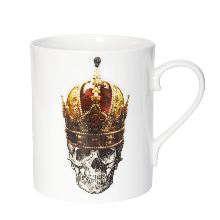 Rock and Roll Skull in Red Crown Mug