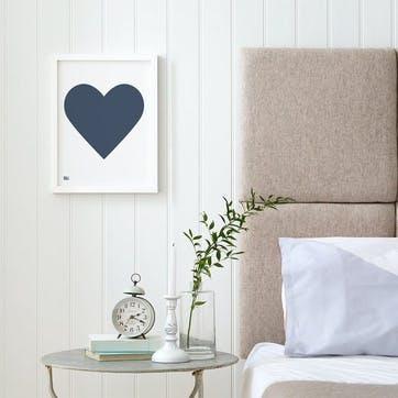 Love Heart Print; Navy on White