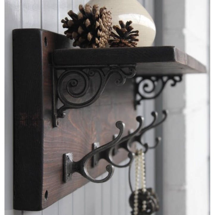 Reclaimed Wood Victorian Coat Hook Shelf - 76 x 22cm; Dark