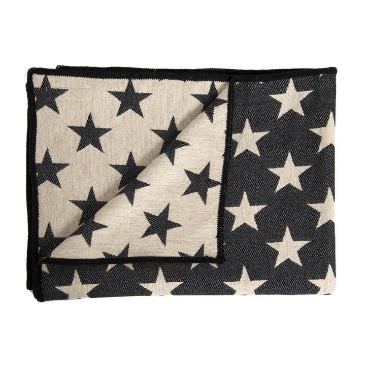 Antares Star Throw, Black & Linen