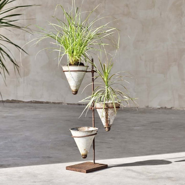 Abari Tapered Planter Stand, Aged Zinc