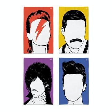 Icon Bowie, Morrissey, Freddie, Prince Tea Towels Set, 47cm x 74cm