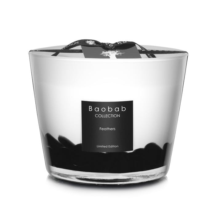 Feathers Scented Candle, 10cm - Black Rose & Oud