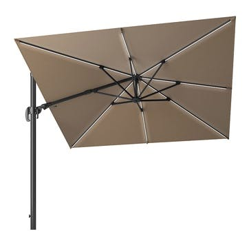 Glow Challenger T2 Square Parasol - 3m, Taupe