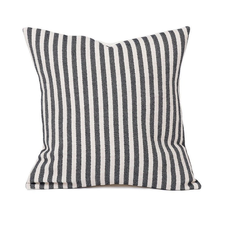 Harbour Stripe Cushion - 40cm; Graphite & Ecru