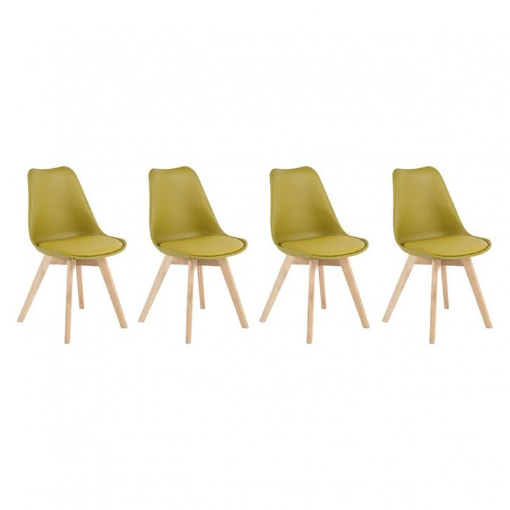 Jerry Set of 4 Dining Chairs, Yellow