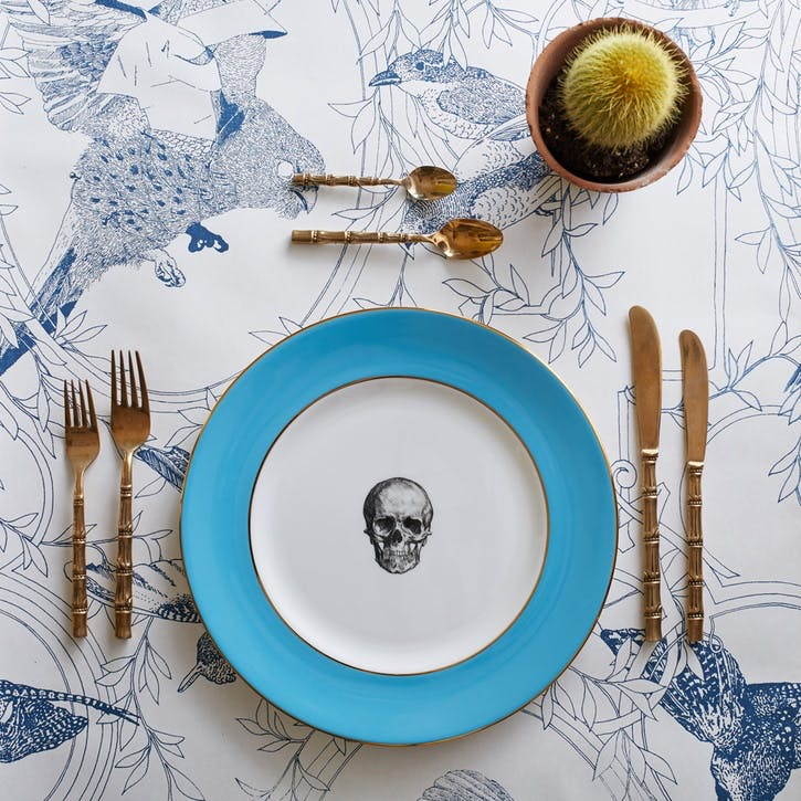 Rock and Roll Skull Dinner Plate, Retro Blue
