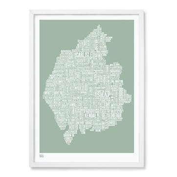Type Map Screen Print Cumbria/ Lake District, 50cm x 70cm, Seafoam Green