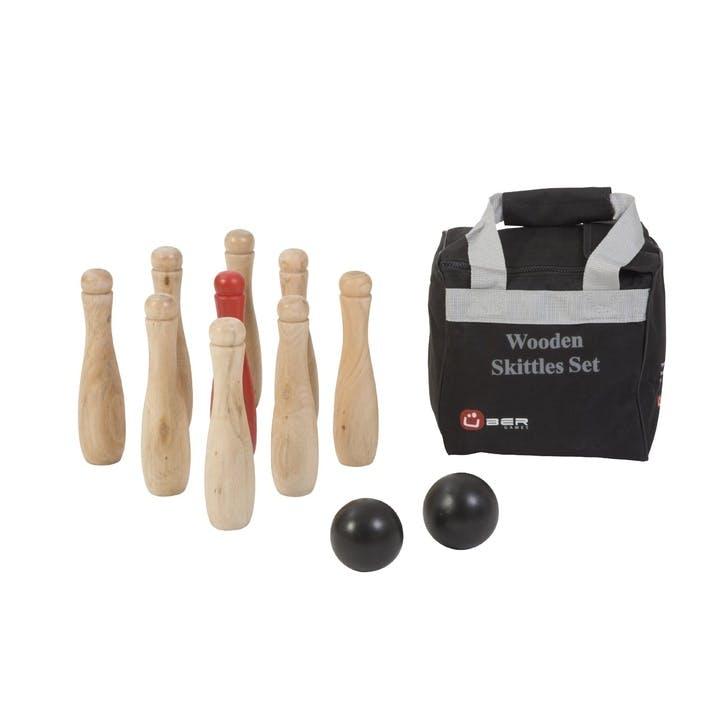 Wooden Skittles Game, 22cm, Natural