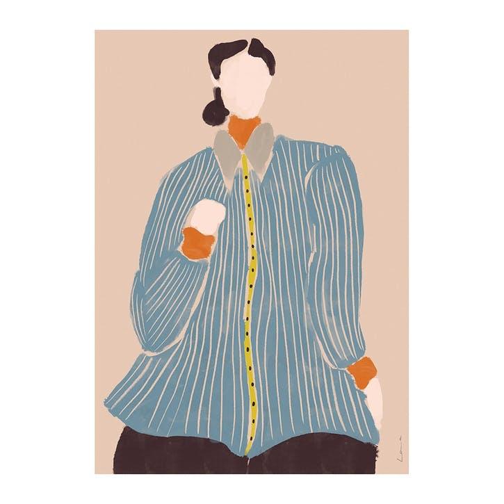 Kvinde Bla - Laura Nielsen Art Print D30cm x H40cm