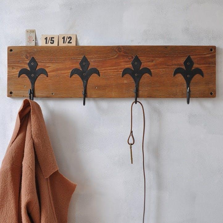 Fleur De Lis Reclaimed Coat Hook - 70 x 19.5cm; Dark