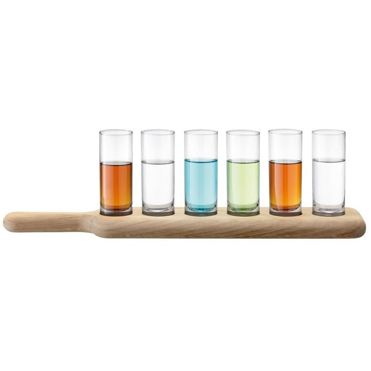 LSA Paddle Vodka Set & Oak Paddle, Standard, Clear