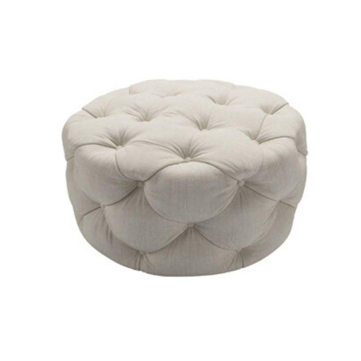Georgette, Round Footstool, Canvas Pure Belgian Linen