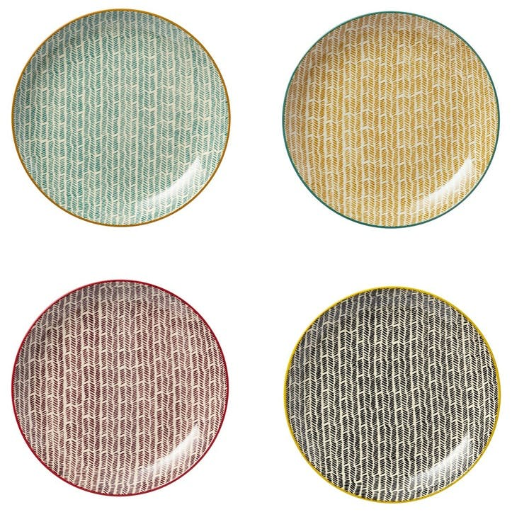 Herrinko Stoneware Dinner Plates, Set of 4, Multi