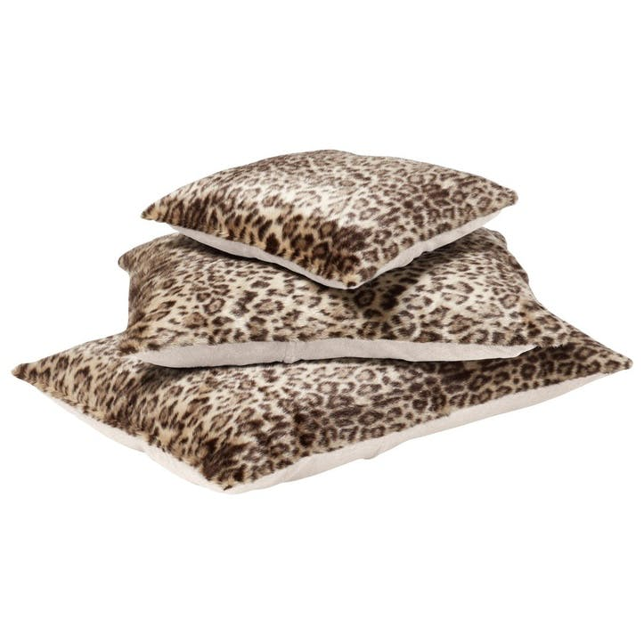 Leopard Faux Fur Pet Cushion, Medium