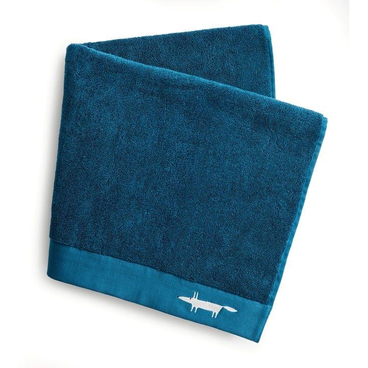 Mr Fox Embroidered Hand Towel, Lake
