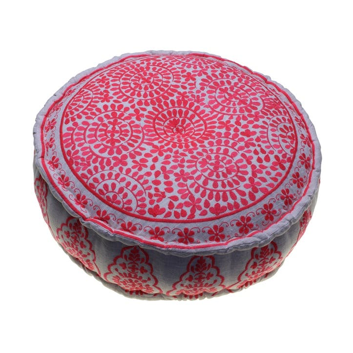 Nomad Embroidered Pouff, 60cm, Coral