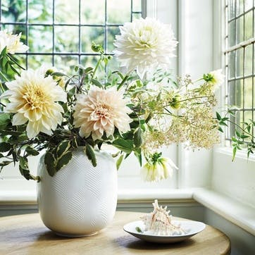 White Folia Round Vase, 21cm