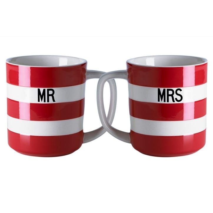 Set Of 2 'Mr & Mrs' Mugs, 10oz/28cl, Red