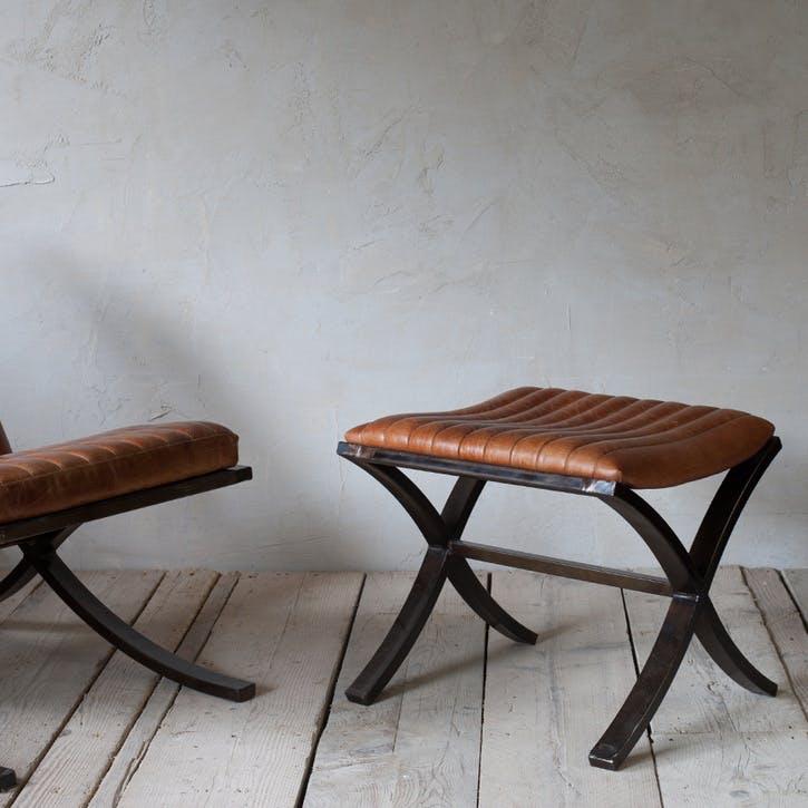 Narwana Ribbed Leather Footstool