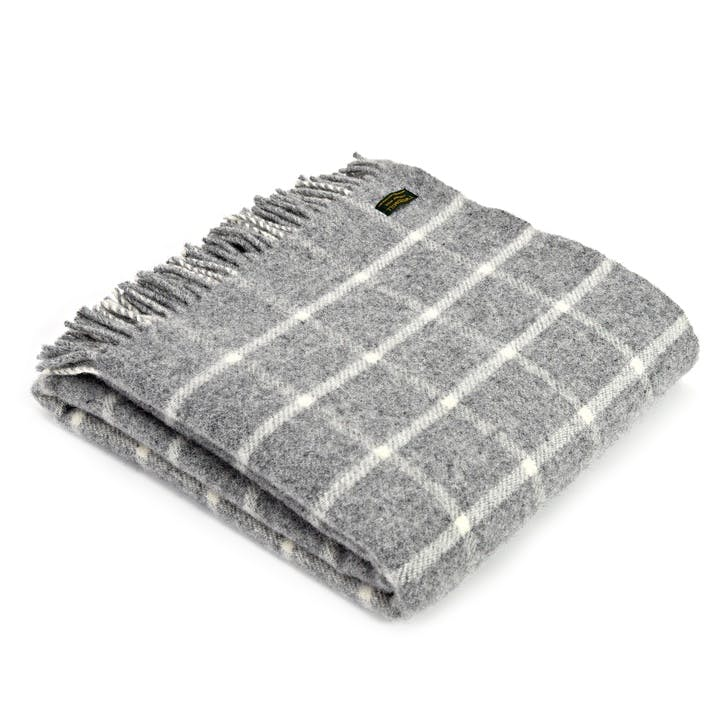 Chequered Throw; Grey