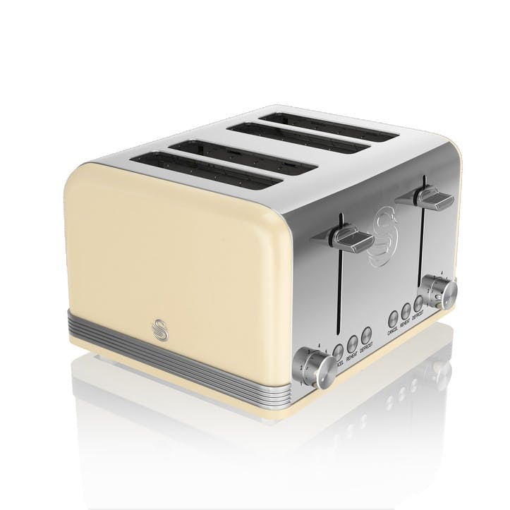 Retro 4-Slice Toaster, Cream