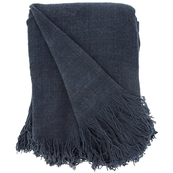 Jute Cotton Throw, Denim