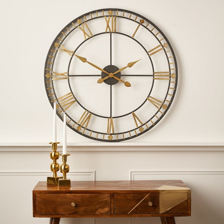 Metal Skeleton Clock, Antique Bronze & Gold
