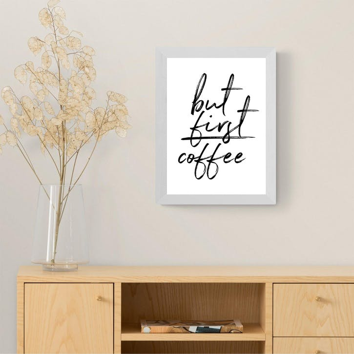 Rafael Farias, But First Coffee, Framed Art Print, H48 x W38 x D2cm, White