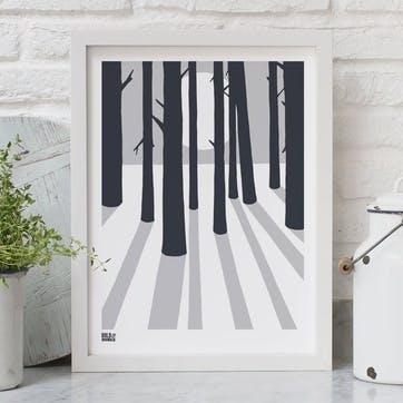 In The Woods Screen Print - 30 x 40cm; Chalk Grey