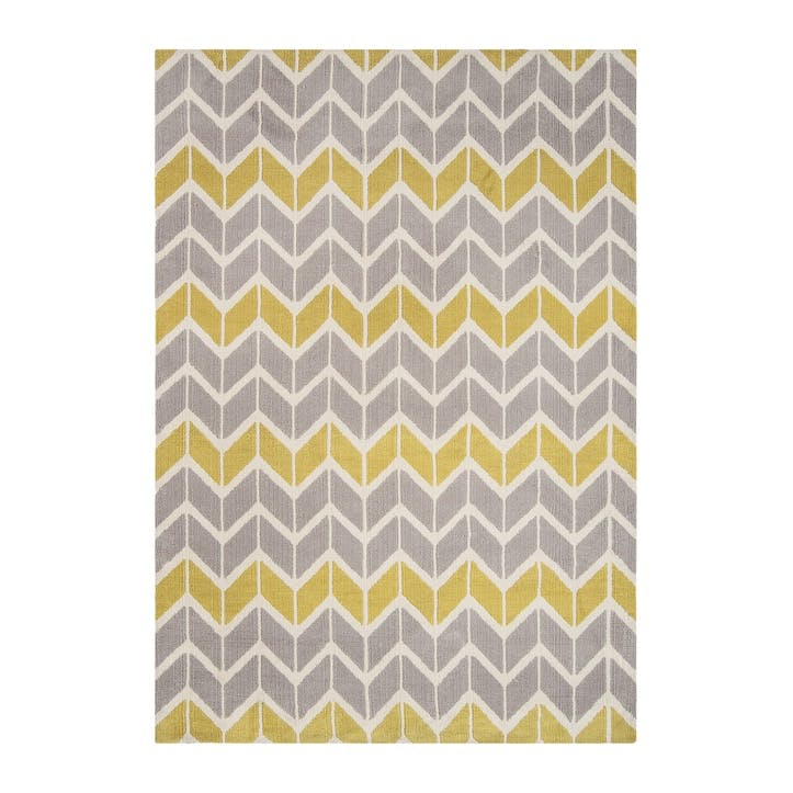 Arlo Chevron Rug - 1.2 x 1.7m; Lemon/Grey