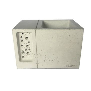 Beepot Concrete Planter and Bee House