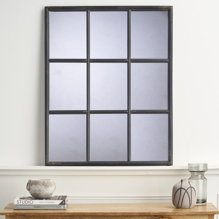 Industrial Window Mirror, Black