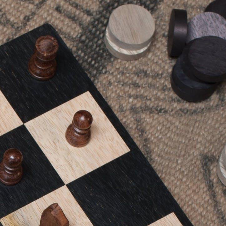 Mango Wood Chess & Draughts Set