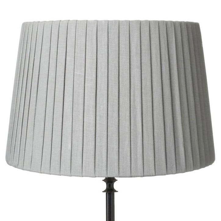 30cm Pleated Linen Lampshade, Grey Blue