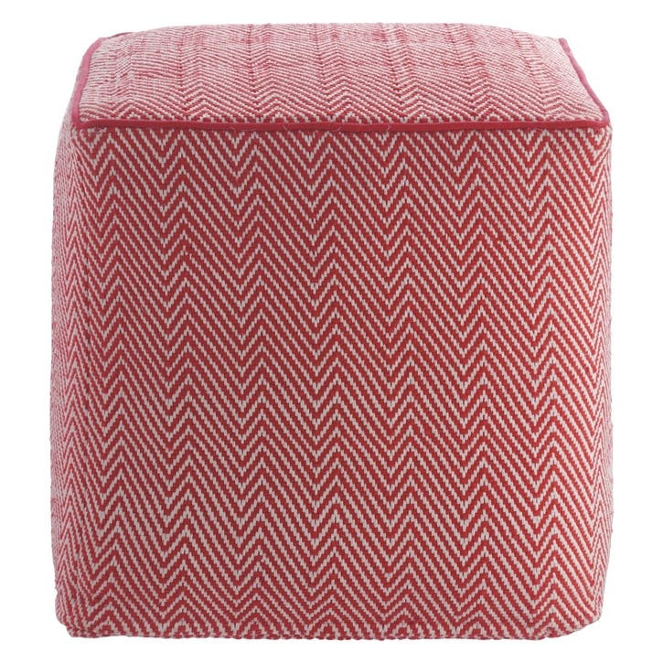 Durrie Knitted Patterned Footstool, Red