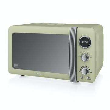 Retro 800W Digital Microwave, Green