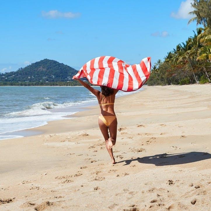 Round Beach Towel; Waikiki Coral