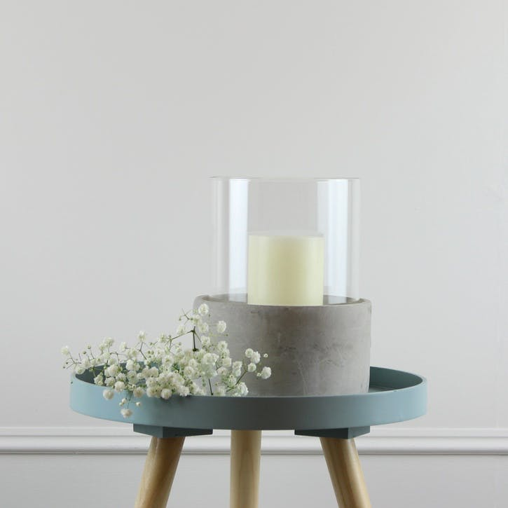 Round Glass and Cement Hurricane - Large