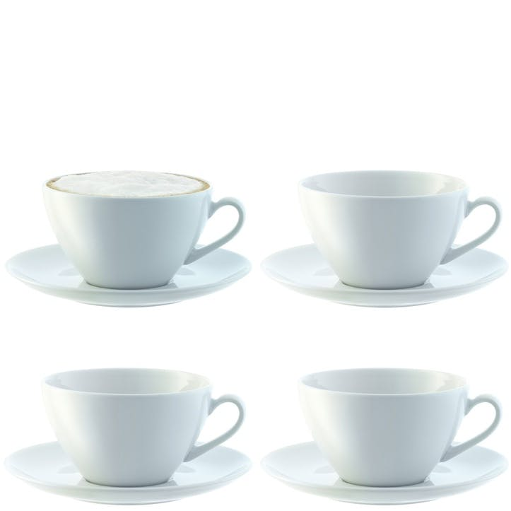LSA Dine Curved Cappuccino Cup & Saucer, Set of 4