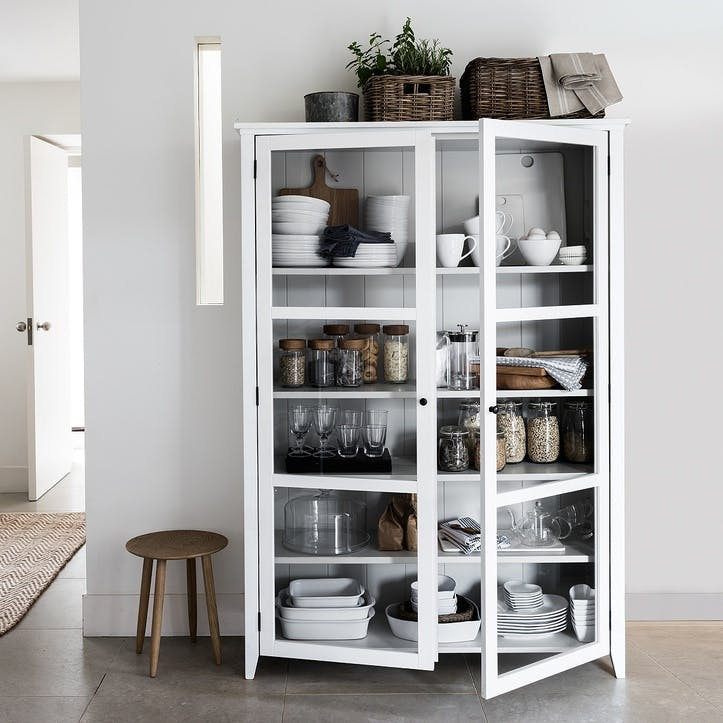 Glass Display Cabinet, White Grey