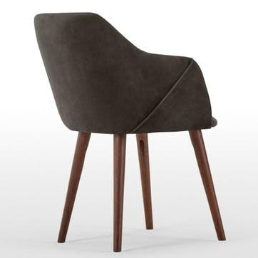 Lule Set of 2 Carver Dining Chairs; Otter Grey Velvet