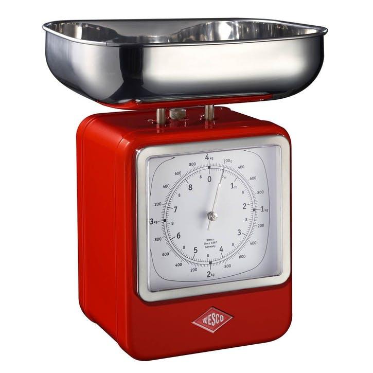 Retro Scale with Clock, Red